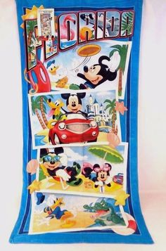 "Disney Florida Mickey Mouse & Friends Picture Moments Beach Towel 28"" x 58"" NWT  #Disney"