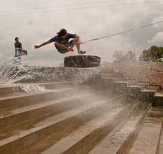 Nike 6.0 wake kick-flip over stair gap    #wakeskate #wakeskating