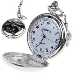 f183c6e94d8 relógio de bolso prata com estampa de caveira Relógio De Bolso