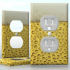 DIY Do It Yourself Home Decor - Easy to apply wall plate wraps | Beerphone #2  Beer pattern with bubbles  wallplate skin sticker for 1 Gang Wall Socket Duplex Receptacle | On SALE now only $3.95 Do It Yourself Home, Light Switch Covers, Plates On Wall, Decals, Bubbles, Wraps, Beer, How To Apply, Stickers