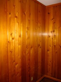 Just a Touch of Gray: Whitewash Treatment White Washed Wood Paneling, Knotty Pine Paneling, White Washed Pine, White Wash Stain, Knotty Pine Walls, White Wash Walls, Dark Walls, Wood Paneling Makeover, Wood Panneling