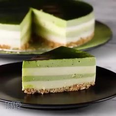 Matcha Layered Cheesecake Recipe by Tasty - Cheesecake Recipes Layered Cheesecake Recipe, Layer Cheesecake, Cheesecake Recipes, Dessert Recipes, Green Tea Cheesecake, Tea Recipes, Muffin Recipes, Dessert Ideas, Matcha Cake
