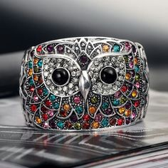 colorful owl ring...pinned by ♥ wootandhammy.com, thoughtful jewelry.