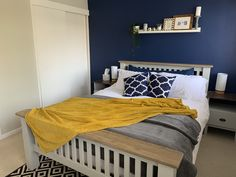 Super Ideas For Yellow Gray Bedroom Decor Ochre Bedroom, Blue Master Bedroom, Blue Gray Bedroom, Grey Bedroom Decor, Bedroom Ideas, Bedroom Colour Palette, Bedroom Color Schemes, Bedroom Colors, Colour Schemes