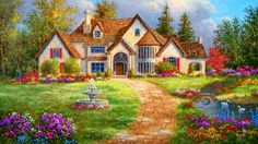 Cottage near the brook - Desktop Nexus Wallpapers Cottage Art, Painted Cottage, Cozy Cottage, Belle Image Nature, Farm Paintings, Images Vintage, Thomas Kinkade, Pretty Art, Beautiful Paintings