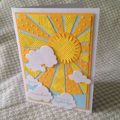 "Sending you Sunshine - wishing you brighter days card - cut triangle ""sun rays"""
