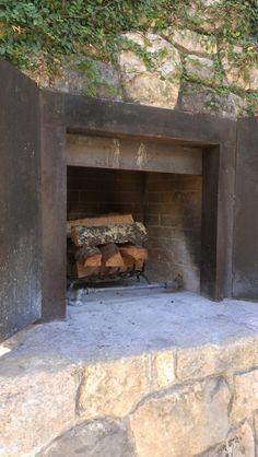 Nice fireplace blends with stone