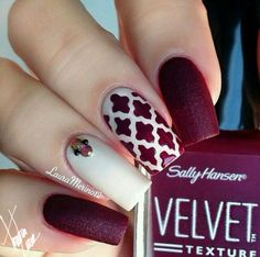 Dark Red. White Nail Art ❤