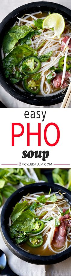 Easy Pho Soup Recipe - Slurp your noodles with abandon in 30 minutes with this Easy Pho Soup Recipe! A quick, satisfying and full-flavor version of Vietnam's national dish. Recipe, Vietnamese food, soup, noodle soup, beef soup, dinner, healthy | pickledplum.com