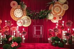 Whimsical, red and green stage design
