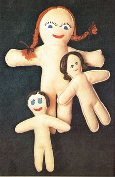 Last-Minute CHRISTMAS 1970s Traditional Felt Rag Dolls Sewing Pattern PDF Gift Idea  PDF Instant Download!  To make 3 Traditional Rag Dolls  Full of Character and Vintage Charm!  Made from Felt with Wool Hair  Pretty Faces  Would make lovely Gifts for someone special to Make-and-Dress  Easy To Make  Heirloom Old-Fashioned Appeal Victorian  Last-Minute Christmas Gift  Happy Sewingx  Please check out my other Last-Minute Patterns in the Christmas section of my shop Thanks for looking