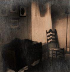 Donde los fantasmas sentar - Spooky Polaroid foto grabado de ventana - encendió la silla en la esquina