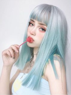 Cute Makeup, Makeup Looks, Hair Makeup, Pretty Hairstyles, Girl Hairstyles, Soft Grunge Hair, Aesthetic Hair, Dye My Hair, Blue Hair