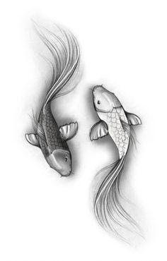 My sketch for ying yang koi - Thinks Tatto Koi Fish Drawing, Fish Drawings, Tattoo Drawings, Kio Fish Tattoo, Coy Fish Tattoos, Pisces Tattoo Designs, Koi Tattoo Design, Forearm Tattoos, Body Art Tattoos