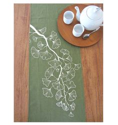 Gingko Trail Table Runner  Leaf / Offwhite by celineandkate, $45.00