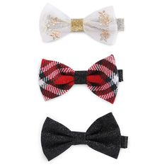 Girls' 3 Pack Holiday Cheer Bow Clips Cat & Jack - Multi-Colored One Size, Girl's, Grey