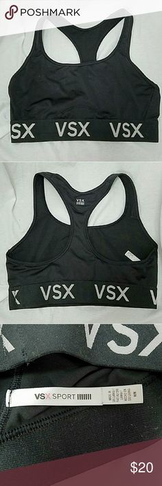 VSX SPORT by VS Sz Medium Racer Back Sports Bra Brand: VSX by Victoria's Secret  Item: *Black Sports Bra With Racer Back Straps *Elastic Band Along the Bottom with 'VSX' Around It *86% Polyester, 14% Elastane *Excellent Pre-Loved Condition   *no trades, offers via offer button only* VSX by Victoria's Secret Intimates & Sleepwear Bras