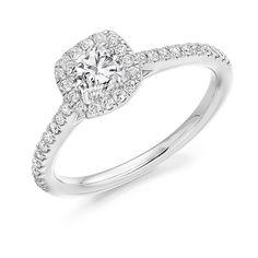#engagementrings Cushion Cut With Scallop Set Halo And Shoulders #engagement #engagementring #engaged #ring #loveit #diamonds #diamondring #diamondjewellery #diamond #jewellery #vsco #bride #groom #ido #wedding