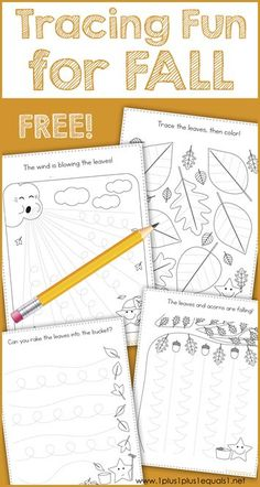 This Fall Theme Tracing Fun printable set is great for Tot School, Preschool and Kindergarten. Work on fine motor skills while tracing fall leaves, acorns and more. Never planned to homeschool, now wouldn't trade it for the world Fall Preschool Activities, Homeschool Kindergarten, Free Preschool, Preschool Printables, Preschool Classroom, Preschool Worksheets, Preschool Learning, Preschool Fall Theme, Teaching