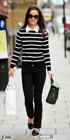September 28, 2012 - Pippa Middleton in a black-and-white nautical-inspired look by Kate Spade.