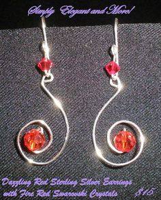 Dazzling Red Sterling Silver Earrings by SimplyElegantandMore, $15.00