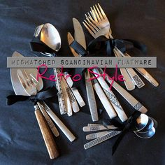 This unique vintage retro flatware set will be the perfect conversation starter on your next dinner party! Service for 4 up to 20, $47-192. Use PIN10 at checkout for a 10% discount on your order! ODD and Reloved's shop on Etsy: https://www.etsy.com/oddandreloved/se-en/listing/570674145/mismatched-retro-style-flatware-set