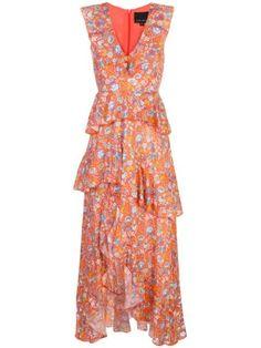 Cynthia Rowley Savannah Tiered Maxi Dress In Orgmt - Orange Multi Designer Baby, Peach Orange, Tiered Skirts, Cynthia Rowley, World Of Fashion, Day Dresses, Savannah Chat, Women Wear, Clothes For Women