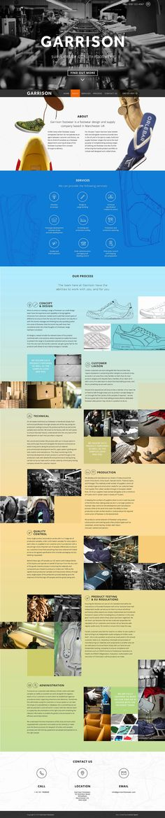 Long responsive one pager promoting 'Garrison Footwear' featuring a neat parallax effect of falling shoes near the intro.