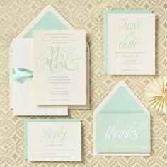 Mr. & Mrs. Wedding Invitation  Mint!  www.davidtuteraembellish.com