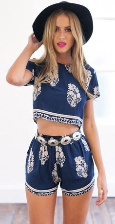 Dope,demure,and classy, this floral crop top and high waist-shorts are the kind of stable that you can wear through season in and out. Click on the picture to see more