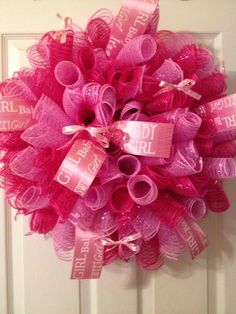 It's A Girl Love making baby wreaths also make blue for a boy or any color to match your décor @ Hedges Creations. http://www.etsy.com.shop/HedgesCreations