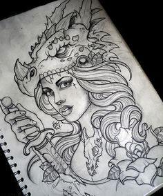 NeoTraditional Tattoo Flash Art | Dragon Hunter Commission.suffered from drawing block while doing this ...