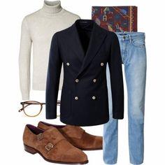 Monday inspiration - sneak peek to the fall with #menswear basics DB blazer: Tagliatore Rollneck: Fedeli Jeans: Incotex Shoes: Carmina PS: D...