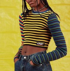 3ecbdee7f8f Striped cropped sweater women long sleeve color block crop tops,short style  knitted sweater female,yellow striped color block crop top sweater slim  fit,long ...