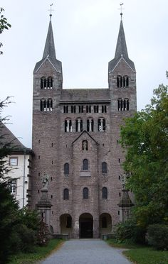 "The ""westwerk"" was the name of the two towers at the west end of the church.  This was seen during the Carolingian time period.  The towers were attached to the church but not part of it."