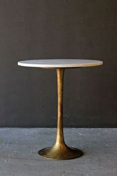 Round Brass Coffee Table With Marble Top by Rockett St George