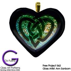 Glass Project 542: Celtic Knot Dichroic Heart Pendant
