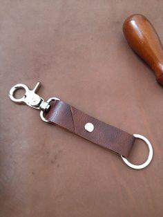 Leather Keychain Keyring Keyclip Belt Clip Dark by leathermix