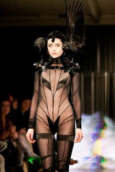 pam hogg sheer black playsuit