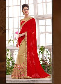 Wholesale Beige Designer Saree Supplier From India