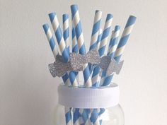 Birthday Party or Baby Shower Light Blue Stripe and by ConfettiDay