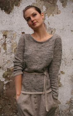 Melange Linen Sweater With Tie Belt by KnockKnockLinen #vegan #fashion #clothing