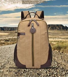 กระเป๋าเป้ กระเป๋าใส่โน๊ตบุค ผ้าแคนวาส รุ่น H9MJ1304KK - สีกากี