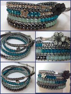 Amazzonite wrap bracelet ▪Amazzonite stones ▪Swarovski ▪nematode stones ▪Sterling silver nuggets ▪Dark grey leather ▪Gunmetal flower button
