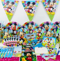 >> Click to Buy << Children Birthday Party Mickey theme Plate Cup Sucker Hat Decorative Props Baby Birthday Dress Up Tableware Set #Affiliate