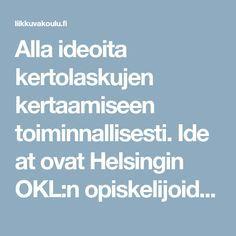 Alla ideoita kertolaskujen kertaamiseen toiminnallisesti. Ideat ovat Helsingin OKL:n opiskelijoiden kehittämiä.