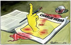 Front page of The Independent. Illustration by Dave Brown, Charlie Hebdo attack The New Yorker, Satire, Caricatures, Die Unfassbaren, Attentat Paris, Anne Sinclair, Twin Towers, Dave Brown, Newspaper Front Pages