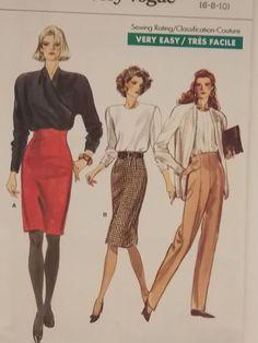 Super hip Vintage 1980s Very Easy Vogue Pattern by SewVintageCo, $6.50 uncut, size 6-8-10 high waist pants, pencil skirt, 80s fashion