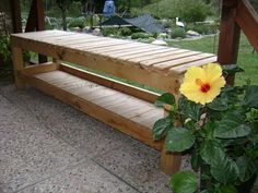 benches made from pallets   The assembly of wooden parts and adhesive need have been fulfilled ...