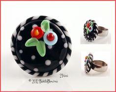 $20  M. Engelbreit Floral Ring Topper - Handmade lampwork art beads, jewelry & supplies by Bastille Bleu Lampwork